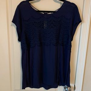 Navy top with crochet detail